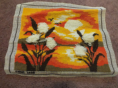 Collectible Needlepoint Sampler Cattails Bold Oranges Brown Cream 10 x 8 NICE