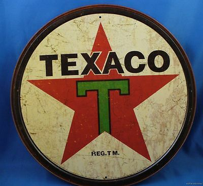 ROUND TEXACO T RED STAR ROUND METAL TIN SIGN Made in the US America Gas Gasoline