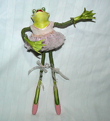 Patience Brewster Krinkle Christmas Ornament Plush Ballerina Frog Decoration