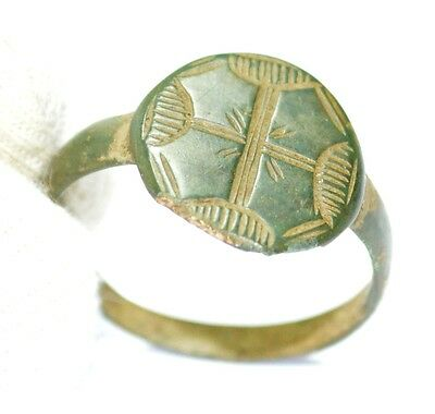Authentic Medieval - Knights Era - Bronze Ring - Engraved Menorah Cross -Jk52