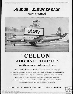 Aer Lingus Irish Airlines Viscount At Dublin Cellon Aircraft Finishes 1956 Ad