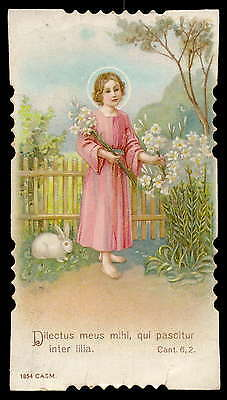 CHILD JESUS PICKING FLOWERS Old CASM HOLY CARD