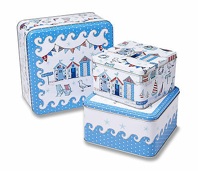 Cooksmart Beside the Sea Square Storage Tins Set of 3 Canisters Containers Cake