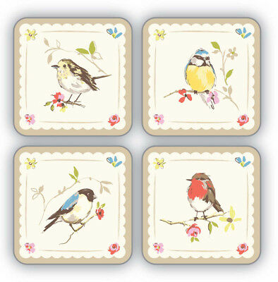 Cooksmart Dawn Chorus Bird Coasters Pack of 4 Drink Mats Vintage Retro Style New