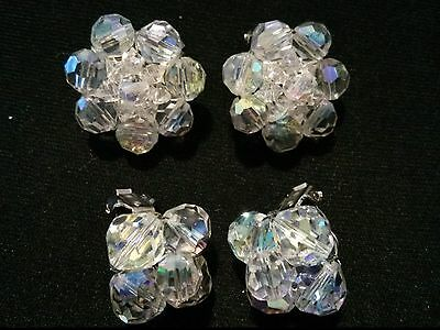 #Vintage Lot Of 2 Clear Iridescent Beaded Cluster Clip On Earrings 1""