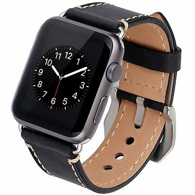 Apple Watch 1/2 Band 42mm Genuine Leather Metal Adapter Clasp Sweat-absorbent