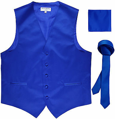 "New Men's Royal formal vest Tuxedo Waistcoat_1.5"" necktie & hankie set wedding"