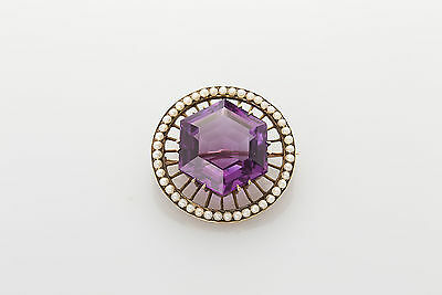 Antique 1920s 20ct Natural FANCY CUT Amethyst Pearl 14k Gold CIRCLE Pin Brooch