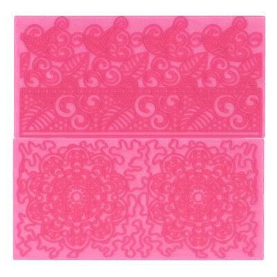 FMM Impression Mat Set 4 Filigree Lace Cake Icing Fondant Embossing Pattern Tool