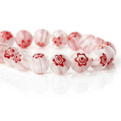 White & Red Millefiori Glass 10mm Beads 1 Strand (36 Beads)  Hole 1.3mm J74639