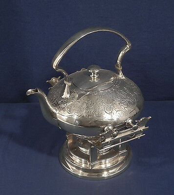 Vtg Antique Victorian Silverplate Aesthetic Movement Tea Kettle on Stand +Burner