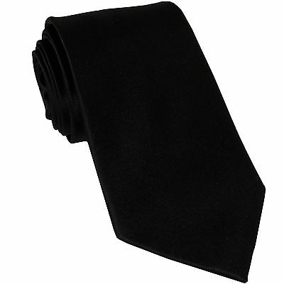 New Poly classic men's Necktie only solid formal wedding party uniform Black