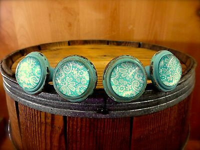 4 BLUE-WHITE LACE GLASS DRAWER CABINET PULLS KNOBS VINTAGE DISTRESSED hardware
