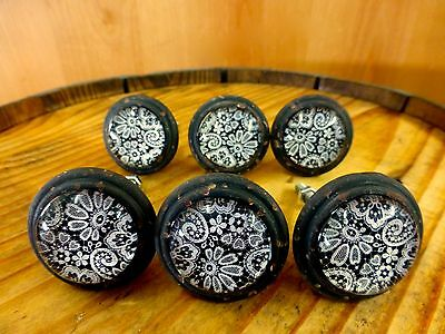 6 BLACK-WHITE LACE GLASS DRAWER CABINET PULLS KNOBS VINTAGE DISTRESSED hardware