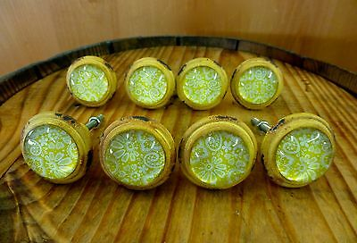 8 YELLOW-WHITE LACE GLASS DRAWER CABINET PULLS KNOBS VINTAGE DISTRESSED hardware