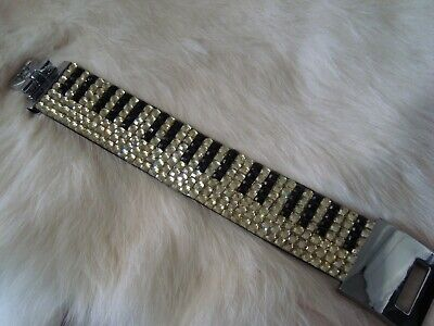PIANO Keyboard Music Crystal Bracelet 7 Rows Black/Clear Crystals Brand NEW