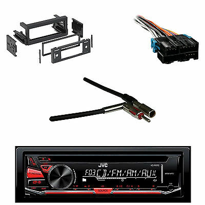 JVC CD AM FM AUX Receiver, GM Wire Harness, DASH Kit, Metra Antenna Adapter