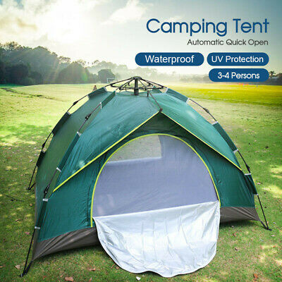 Double Layer Instant Auto Pop Up Large Camping Tent Outdoor 3-4 Persons Shelter