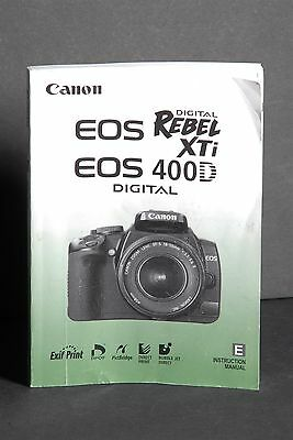 Canon Genuine EOS 400D / XTi Digital Camera Instruction Book / Manual / Guide