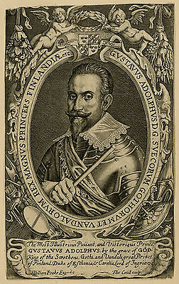 Rare Antique Master Print-PORTRAIT-GUSTAF ADOLPH-KING OF SWEDEN-Cecill-1627