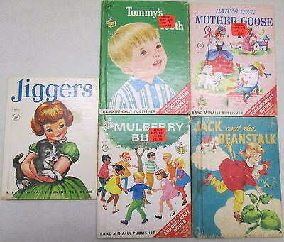 Vintage Lot of 5 Rand McNally Junior Elf Books 1951 and 1960's Mother Goose