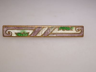 Beautiful Antique Art Nouveau Floralcloisonne Enamel Bar Pin W/gold Wash!