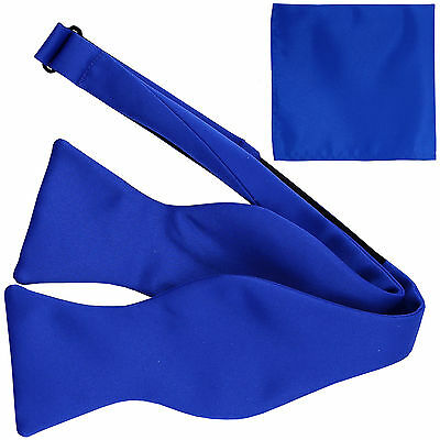 New Men's 100% Polyester Solid Formal Self-tied Bow Tie & hankie set royal blue