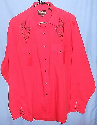 Vintage High Noon Red Embroidered Horses Western Rockabilly Snap-Front Shirt L