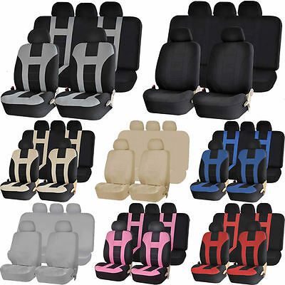 Double Stitched Front Car Seats Back Bench Covers Combo