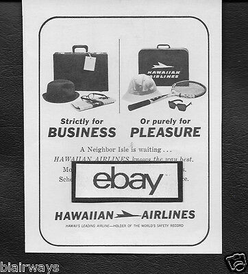 Hawaiian Airlines 1969 Strictly For Business Or Purely For Pleasure Ad