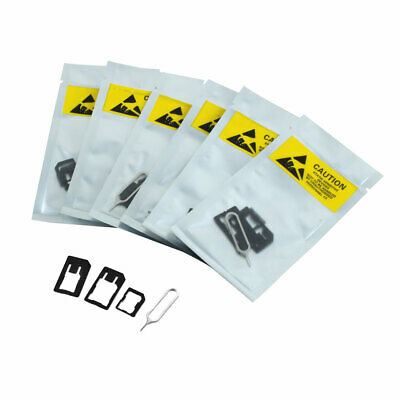 Black Micro SIM Card Adapter Converter to Standard Eject Pin Needle 6 Set