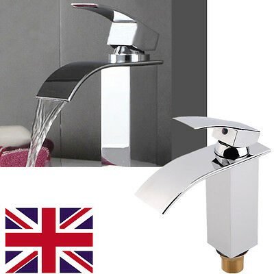 Waterfall Basin Sink Tap Square Mixer Chrome Mono Bloc Bathroom Cloakroom HT