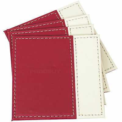 Set of 4 Drinks Coasters Red & Cream Surface Protector Desk Table Coffee Tea Cup