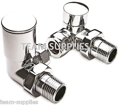 Corner Chrome Towel Rail Radiator Valves Angled Pair 15Mm Fits Pipe From Wall Al