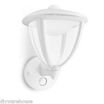 "Philips ""robin"" Superb Quality White Wall Light With Motion Sensor Led Bulbs New"