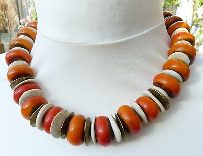 Desert Queen, Moroccan Berber Tribal Necklace, resin and antique shell beads