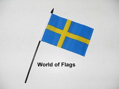 "SWEDEN SMALL HAND WAVING FLAG 6"" x 4"" Swedish Crafts Table Desk Display"