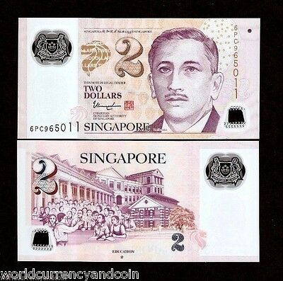 SINGAPORE 2 Dollars 2015-2017 POLYMER Single or Double STAR UNC MONEY BANK NOTE