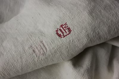 Antique French PURE linen soft monogram WG kitchen dish hand towel cloth