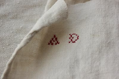 Antique French PURE linen soft monogram hand / kitchen towel 18th / 19th AD
