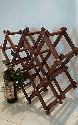 Vintage Wooden Wine Rack Folding Free Standing Holder Expandable Wood Stand