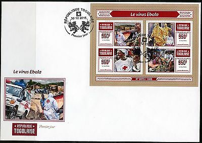 Togo 2015 Ebola Virus Red Cross  Sheet First Day Cover