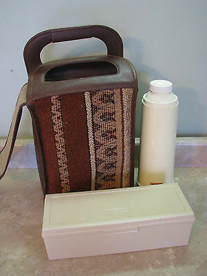 Thermos BROWN & CARPET BAG/TOTE Picnic Set KING SEELEY Faux-Leather VTG 60's/70s