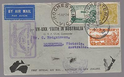 1934 Rochester Australia to New Zealand and back  FFC First Flight Cover