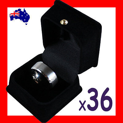 PREMIUM Quality 36X Ring Jewellery Gift Box-5.5x5.5cm-Black Velvet-AUSSIE Seller