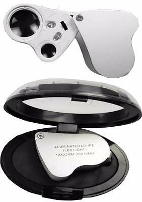 Illuminated  Jewelers Loup Magnifier Magnifying Glass 2  Lenses 10X22 20X12 Eb63