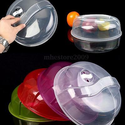 Microwave Food Cover Plate Vented Splatter Protector Clear Kitchen Lid Safe Vent