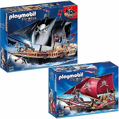 PLAYMOBIL® Pirates 2er Set 6678 6681 Piratenschiff + Soldaten-Kanonensegler