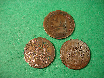 Group Of 3  Vatican Papal States Coins 1/2 Baiocco 1849 +  1850 / One Soldo 1867