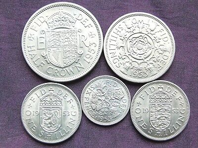 "1953 ""Silver Set"", 5 Stunning UNCIRCULATED Coins. 2/6d to 6d. FREE POSTAGE"